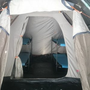 Spacious tents with bunk beds